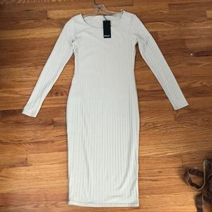 """Ribbed Midi Bodycon Dress in """"Sand"""""""